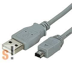00.02.9003 # USB 2.0 kábel/ USB A csatlakozó/Mini USB B csatlakozó - Hirose/1,8 méter, Roline