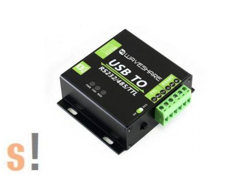 103990383 # USB - RS-232/RS-485/TTL konverter/ optikailag szigetelt/ipari/fém készülékház/Waveshare