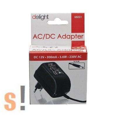 5531 # Fali tápegység adapter AC/DC/12VDC/3.6W/300mA/230VAC, Delight