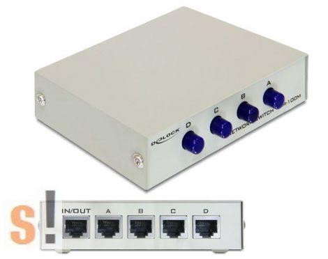 87588 # RJ45 Ethernet manuális átkapcsoló/4x RJ45 Ethernet port/fém készülékház, Delock