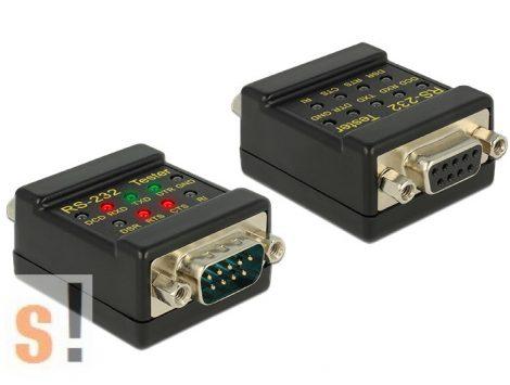 87713 # RS-232 teszter/ DB9 csatlakozók/2x5 LED/DB9 mama/DB9 papa, Delock