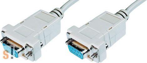 C-9GGNM/1.8# Soros null modem kábel/RS-232/DB9 mama-DB9 papa/1.8 méter/szerelhető csatlakozóház/ BQ/Value