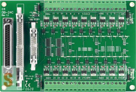 DB-24C/D/DIN CR # OPTO-22 kompatibilis bővítő kártya/szigetelt 24x DO/nyitott kollektoros kimenet, NPN /CA-3710 kábel/DIN sínre rögzíthető/ ICP CON, ICP DAS