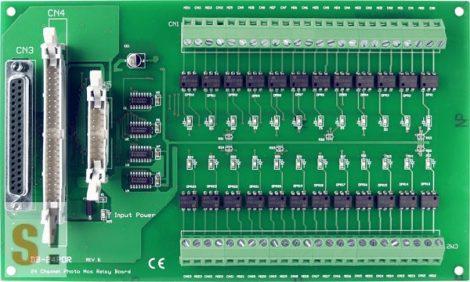 DB-24POR/DIN CR # OPTO-22 kompatibilis bővítő kártya/szigetelt 24x RO relé kimenet/Phot-Mos relé/CA-5015 lapos kábel/DIN sínre rögzíthető/  ICP DAS ICP CON