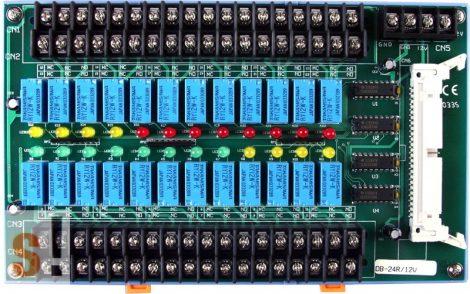 DB-24R/12V/DIN CR # OPTO-22 kompatibilis bővítő kártya/Daugther Board/Relé/24x RO relé kimenet/12V/CA-5015 kábel/DIN sínre rögzíthető/ ICP CON, ICP DAS