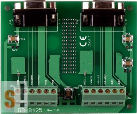DB-8425/DIN # Külső sorkapocs kártya/Daughter Board/PISO-DA2 kártyához/CA-0915 kábel/DB-9 pin csatlakozók/2 méter/DIN sínre rögzíthetőICP CON, ICP DAS