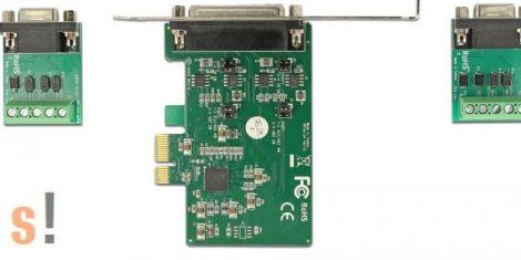 DE-65841 # PCIe soros RS-422/485 kártya/PCI Express/2x RS-422/485 port/1 Mbps adatsebesség/ DB9 csatlakozók vagy sorkapocs/Delock