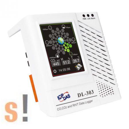 DL-303 # Adatgyűjtő/Data Logger/CO/CO2/Hőmérséklet/Páratartalom/Harmatpont/LCD/Safe Alarm, ICP DAS