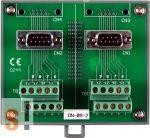 DN-09-2 # DB9 papa - sorkapocs átalakító/2x D-SUB9 papa/2x Sorkapocs/2x soros mama-papa kábel/DIN sínre, ICP DAS