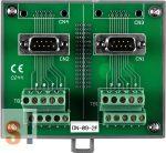 DN-09-2F # DB9 papa - sorkapocs átalakító/2x D-SUB9 papa/2x Sorkapocs/2x soros mama-mama kábel/DIN sínre, ICP DAS