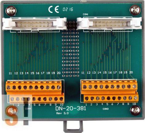 DN-20-381 CR # Sorkapocs kártya/Screw Terminal Board/2x20 pin/381 mm/CA-2010 kábel/DIN sínre rögzíthető/ICP CON, ICP DAS