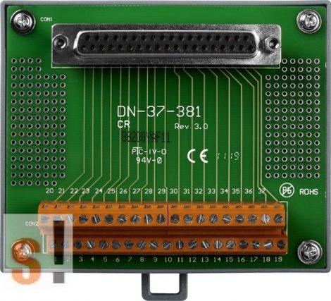 DN-37-381-A CR # Sorkapocs kártya/1x DB37 mama csatlakozó/CA-3710A kábel/381 mm/DIN sínre rögzíthető/ICP CON, ICP DAS