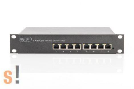 """DN-60013 # 8 portos Ethernet switch/10/100Base-TX/10"""" rackba szerelhető/240 V tápfeszültség, DIGITUS"""
