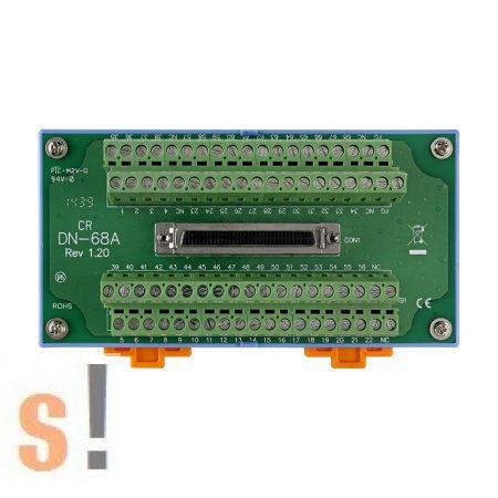 DN-68A CR # I/O sorkapocs csatlakozó blokk/68 pin SCSI-II mama csatlakozóval/DIN sínre rögzíthető/ICP CON, ICP DAS