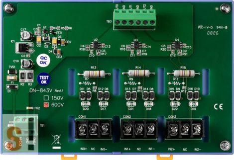 DN-843V-600V # 3 csatornás feszültség osztó/Voltage Input Attenuator/ 600 Vdc/nem szigetelt/DIN sínre rögzíthető/ICP CON, ICP DAS