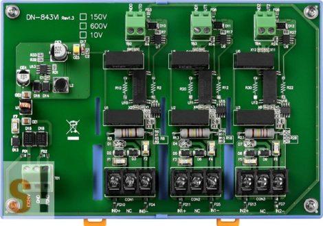 DN-843VI-600V # 3 csatornás feszültség osztó/Voltage Input Attenuator/ 600 Vdc/3000 Vdc szigetelt/DIN sínre rögzíthető/ICP CON, ICP DAS