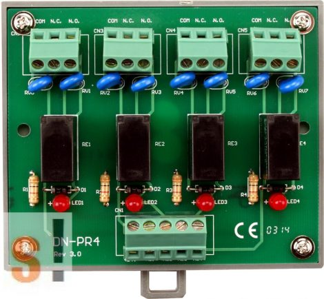 DN-PR4 CR # Relé modul/4x teljesitmény relé/DIN sínre rögzíthető/ICP CON, ICP DAS