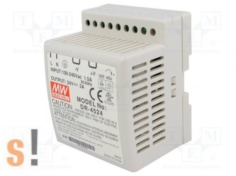 DR-4524 # Stabilizált tápegység/DIN sínre/24 VDC/2 A/45W, Mean Well