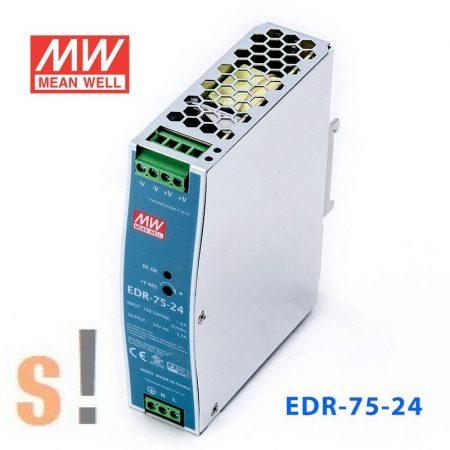 EDR-75-24 # Stabilizált tápegység/DIN sínre/fém ház/24 VDC/3.2 A/75W/24.0~28VDC szabályozható kimenet, Mean Well