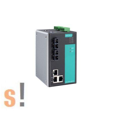 EDS-505A-MM-SC # menedzselt ipari Ethernet switch/5 port/ 3x 10/100BaseT(X) port és 2x 100BaseFX multi-mode port SC fiber csatlakozóval/-10 ~ +60°C/ DIN sínre/ MOXA