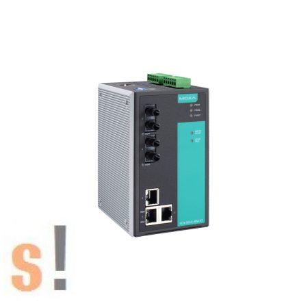 EDS-505A-MM-ST # menedzselt ipari Ethernet switch/5 port/ 3x 10/100BaseT(X) port és 2x 100BaseFX multi-mode port ST fiber csatlakozóval/-10 ~ +60°C/ DIN sínre/ MOXA