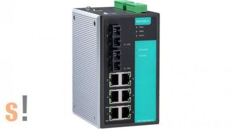 EDS-508A-MM-SC # Menedzselt Ethernet switch/6x 10/100BaseT(X) port és 2x 100BaseFX multi-mode port SC csatlakozóval/-10~60°C/DIN sínre, MOXA