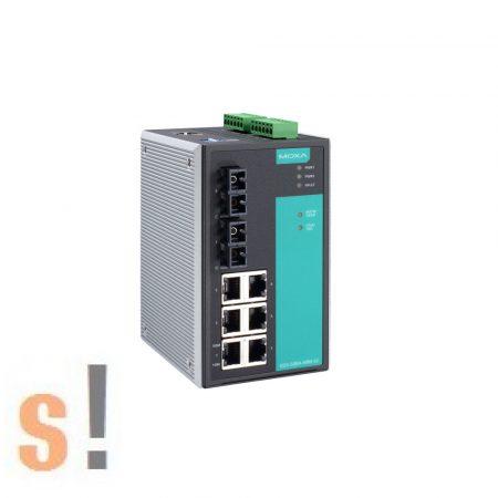 EDS-508A # menedzselt ipari Ethernet switch/8 port/ 5x 10/100BaseT(X)/-10 ~ +60°C/ DIN sínre/ MOXA
