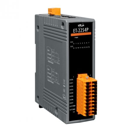 ET-2254P # Ethernet I/O Module/Modbus TCP/16DIO/350mA-ch, ICP DAS