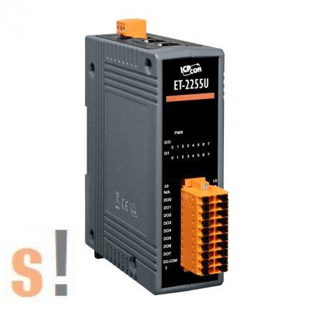 ET-2255U CR # Ethernet I/O modul/Modbus TCP/8x DI digitális bemenet/8x DO digitális kimenet/Push-Pull/2 portos Ethernet switch/ICP CON/ICP DAS
