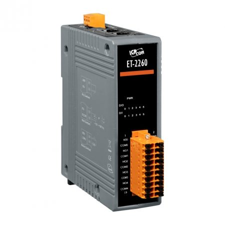 ET-2260 # Ethernet I/O Module/Modbus TCP/6DI/6 Relay Output/2 port Ethernet switch/ ICP DAS