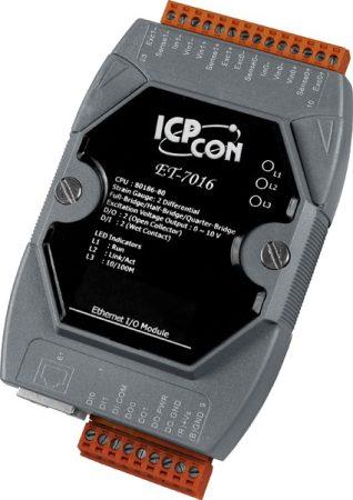ET-7016 # Ethernet I/O Module/ModbusTCP/2AI/1Str.gau/2DI/2DO, ICP DAS