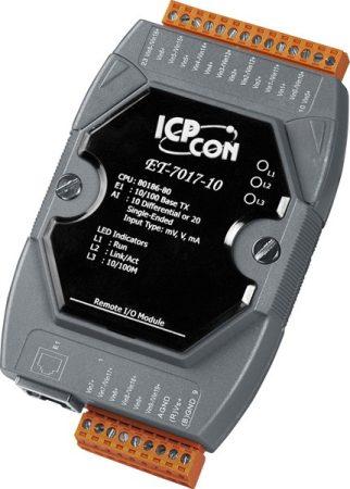 ET-7017-10 # Ethernet I/O Module/Modbus TCP/10/20AI/LED, ICP DAS