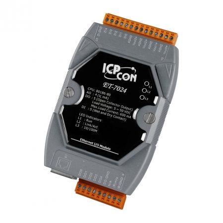 ET-7024 # Ethernet I/O Module/Modbus TCP/4AO/5DI/5DO, ICP DAS