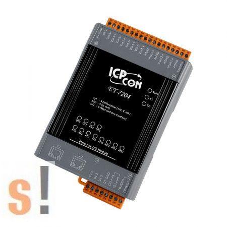 ET-7204 CR # Ethernet I/O modul/Modbus TCP/4x AI/4x AO/4x DI/2 portos Ethernet switch/ICP CON/ICP DAS
