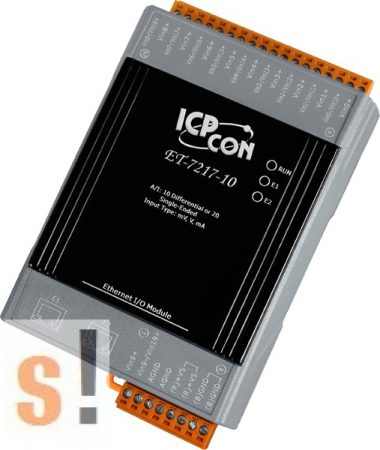 ET-7217-10 CR # Ethernet I/O modul/Modbus TCP/10-20x AI analóg bemenet/2 portos Ethernet switch/ICP CON/ICP DAS