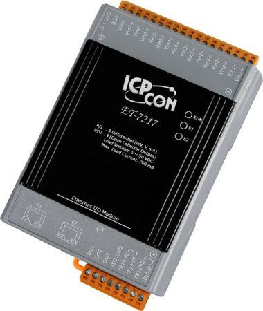 ET-7217 # Ethernet I/O Module/Modbus TCP/8AI/4DO/2LAN, ICP DAS