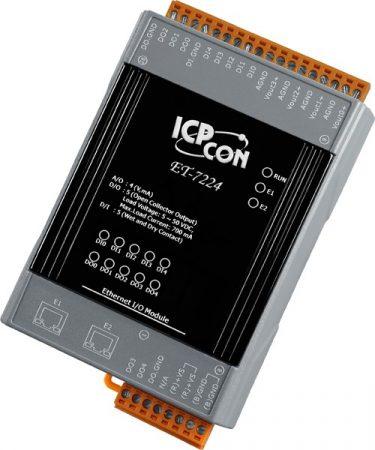 ET-7224 # Ethernet I/O Module/Modbus TCP/4AO/5DI/5DO/2LAN, ICP DAS
