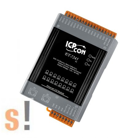 ET-7245 CR # Ethernet I/O modul/Modbus TCP/16x DO digitális kimenet/Source/2 portos Ethernet switch/ICP CON/ICP DAS