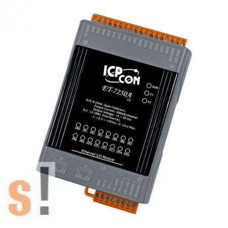 ET-7250A # Ethernet I/O Modul/Modbus TCP/12x DI/6x DO/2x LAN port/DIN sínre, ICP DAS, ICP CON