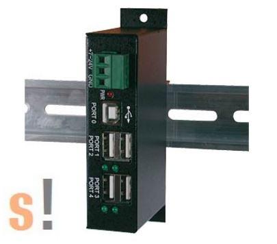 EX-1163HM # Ipari USB hub/4 portos/USB2.0/DIN sínre rögzíthető/EXSYS
