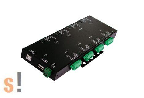 EX-1339HMV # USB--RS-232/422/485 konverter/8x RS232/422/485 port/Fém ház/sorkapocs/FTDI chip set/DIN sínre, Exsys