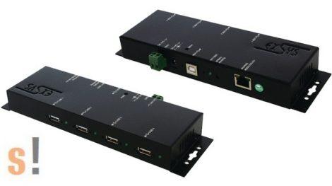 EX-6002PoE # Hálózati USB szerver/4x USB 2.0 port/Gigabit Ethernet/10/100/1000/PoE/fém ház, Exsys