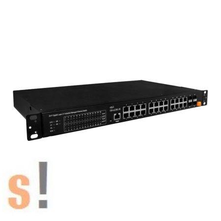 FSM-6228G-DC # 24 portos 10/100/1000Base-T + 4 (100/1G) SFP portos L2 Managed Switch (Dual Power, DC Input), ICP DAS