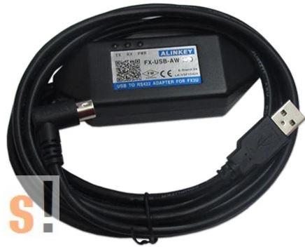 FX-USB-AW # MITSUBISHI MELSEC FX PLC programozó kábel/USB/RS-422/ Alinkey