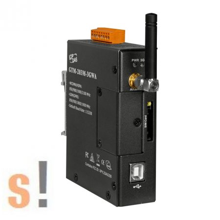 GTM-203M-3GWA CR # Ipari 3G WCDMA Modem/Quad-band/GSM/RS-232/USB/fém ház, ICP DAS