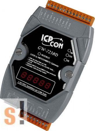 GW-7238D # Átjáró/Gateway/J1939 - Modbus TCP/RTU Slave/RS-232/485/Ethernet, ICP DAS
