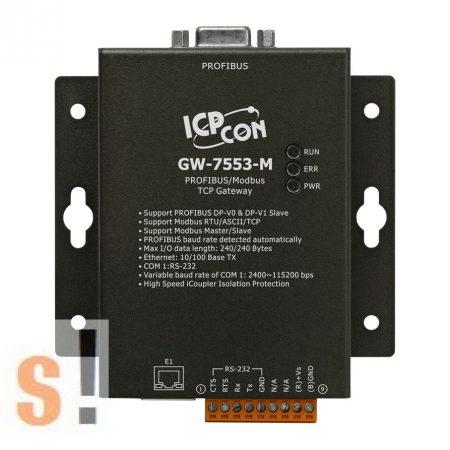 GW-7553-M # Profibus - Modbus TCP/RTU/ASCII átjáró, gateway/fém készülékház ICP DAS ICP CON