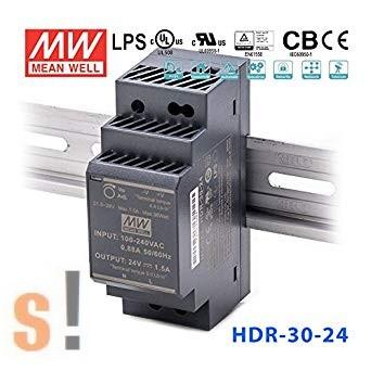 HDR-30-24 # Stabilizált tápegység/DIN sínre/24 VDC/1.5 A/36W/21.6~29V szabályozható kimenet/extrem alacsony méret, Mean Well