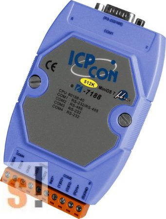 I-7188/512 # Controller/Nincs Ethernet/MiniOS7/C nyelv/512KB, ICP DAS