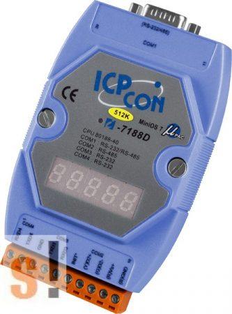 I-7188D/DOS/512 # Controller/Nincs Ethernet/ROM-DOS/C nyelv/512KB/LED, ICP DAS